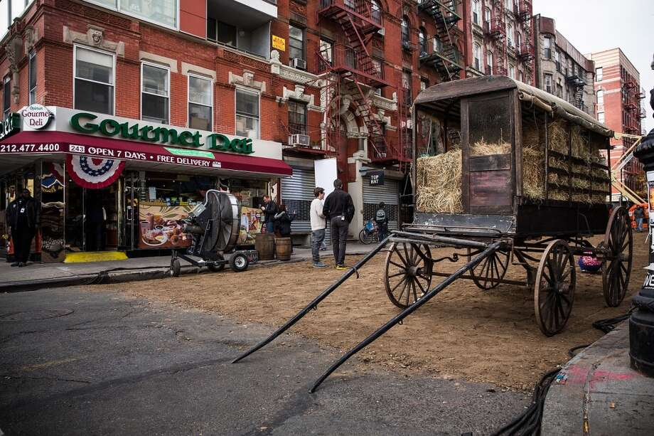 "A set for a television show currently being filmed is seen on November 6, 2013 in the Lower East Side neighborhood of the Manhattan borough of New York City. According to a worker on set, the show is a TV mini-series currently titled ""The Knick,"" is directed by Steven Sodenburgh and stars Clive Owen. Photo: Andrew Burton, Getty Images"