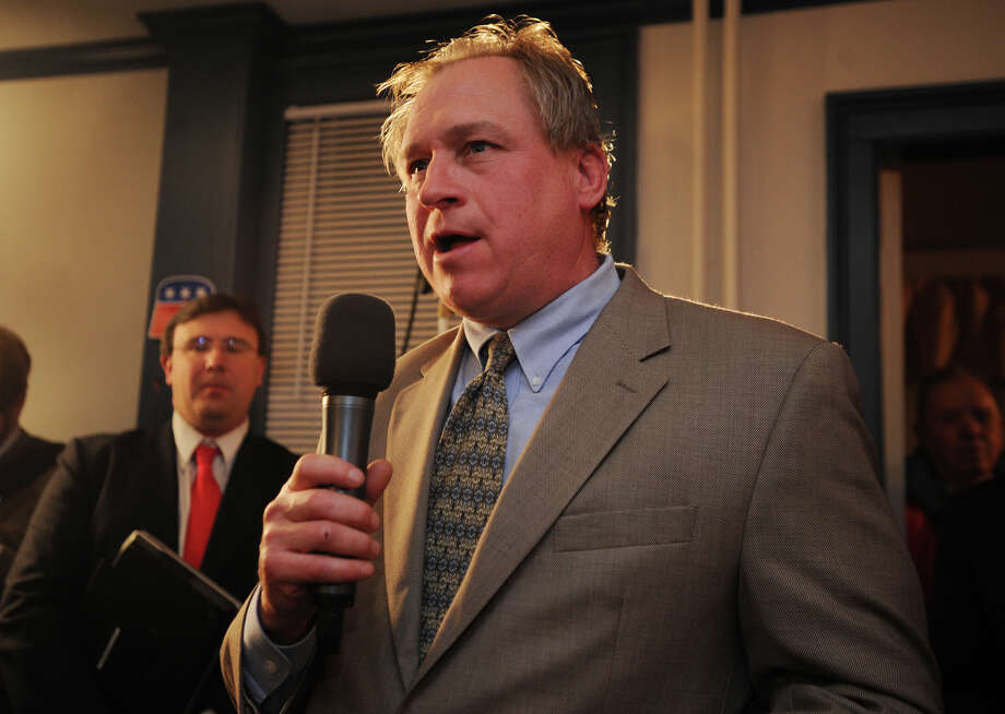 Stratford Councilman Joe Kubik speaks following Mayor John Harkins at Republican headquarters in Stratford, Conn. on Tuesday, November 5, 2013. Photo: Brian A. Pounds / Connecticut Post