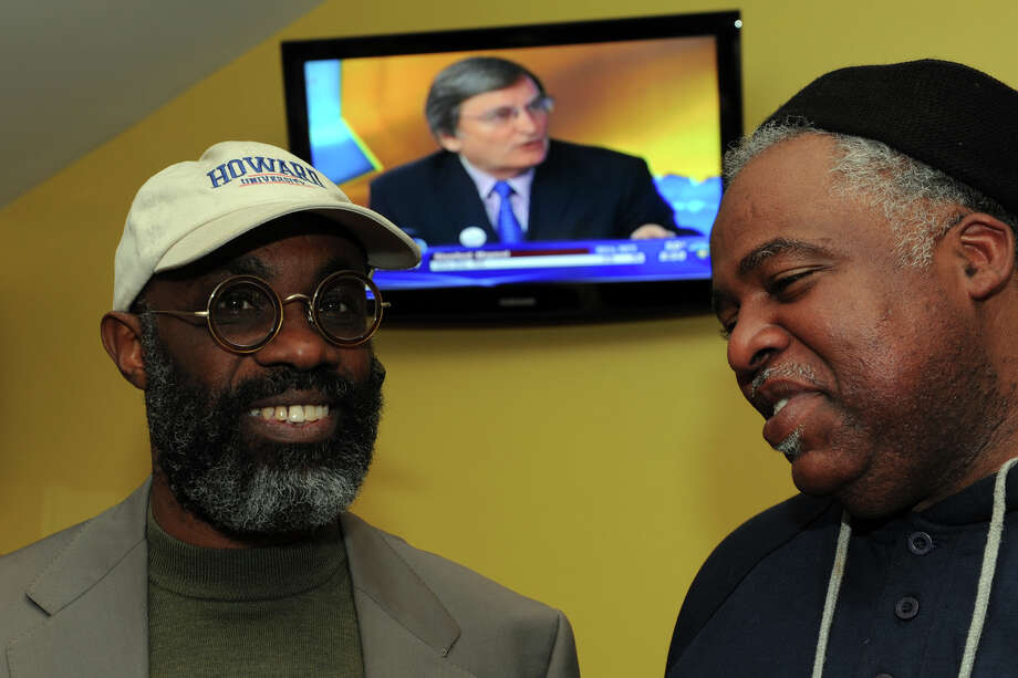 Howard Gardner, left, seen here with Board of Education member John Bagley, on Election Night. Howard, a non-endorsed democrat, has also been elected to the Bridgeport Board of Education. Photo: Ned Gerard / Connecticut Post