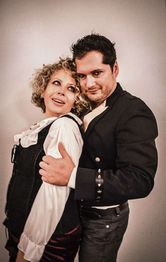 "Elise Eversole and Anthony Cortino (who plays Andrew Jackson) star in ""Bloody Bloody Andrew Jackson"" at the Woodlawn Black Box Theatre. Photo: Courtesy Woodlawn Theatre"