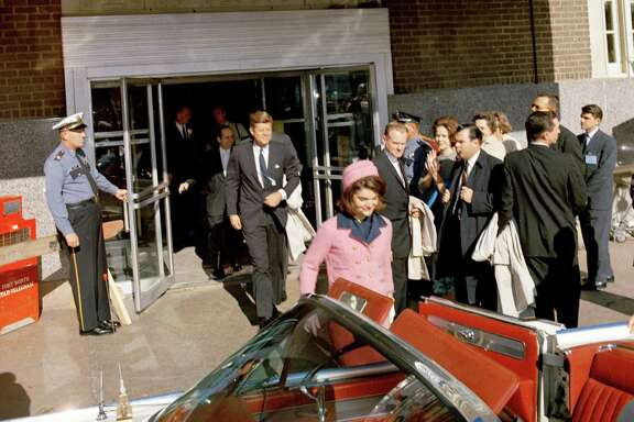 President and Mrs. Kennedy depart Fort Worth's Hotel Texas on their way to Dallas Nov. 22, 1963.