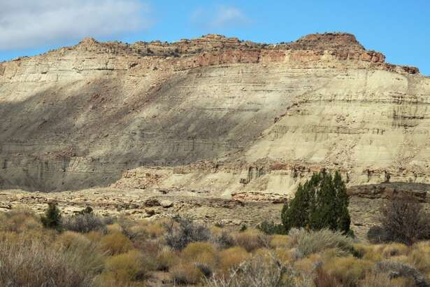"""Lythronax' fossils were found in the cliffs of the Grand Staircase-Escalante National Monument in southern Utah, pictured.  The area is home to about one million acres of cretaceous rocks, which are full of dinosaur fossil potential. The oldest known triceratops – """"Diabloceratops"""" – was found here."""