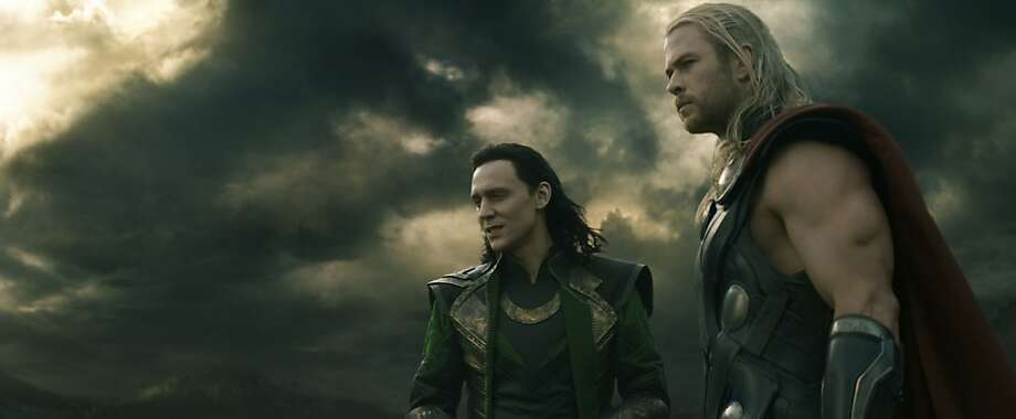 "Chris Hemsworth (right) as Thor and Tom Hiddleston as his brother Loki in ""Thor: The Dark World."" Below: Christopher Eccleston as Malekith."
