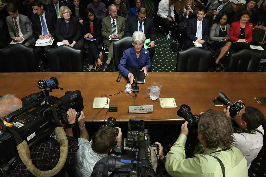 Health and Human Services Secretary Kathleen Sebelius testified about the error-plagued launch of the website Healthcare.gov before the Senate Finance Committee on Capitol Hill on Wednesday. Photo: Chip Somodevilla, Staff / 2013 Getty Images