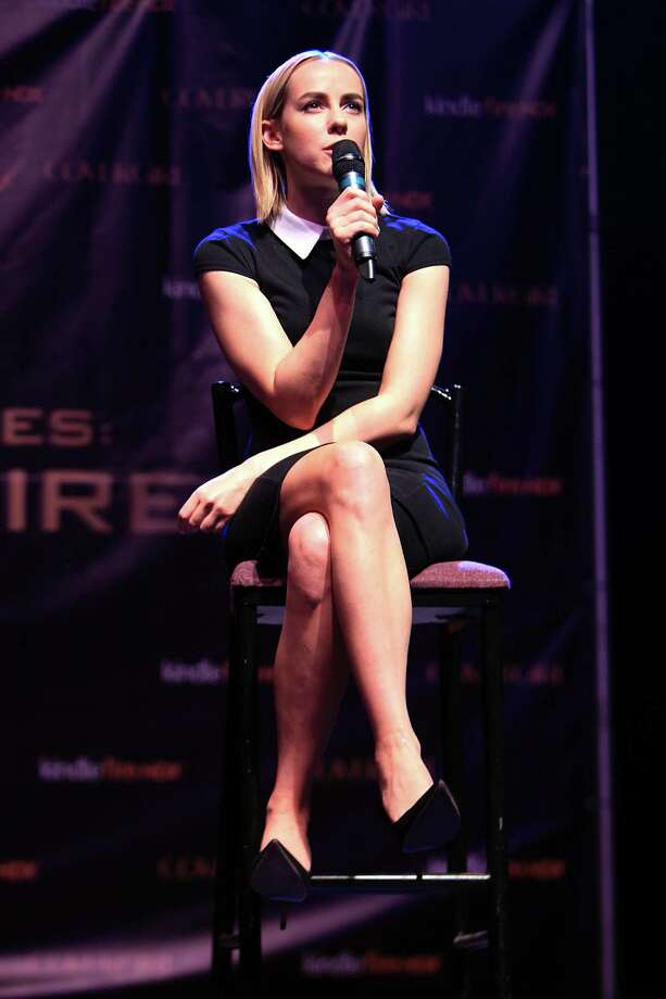 "Jena Malone, ""Johanna"", answers questions during The Hunger Games: Catching Fire Victory Tour at the Bayou Music Center. Photo: Mayra Beltran, Houston Chronicle / © 2013 Houston Chronicle"