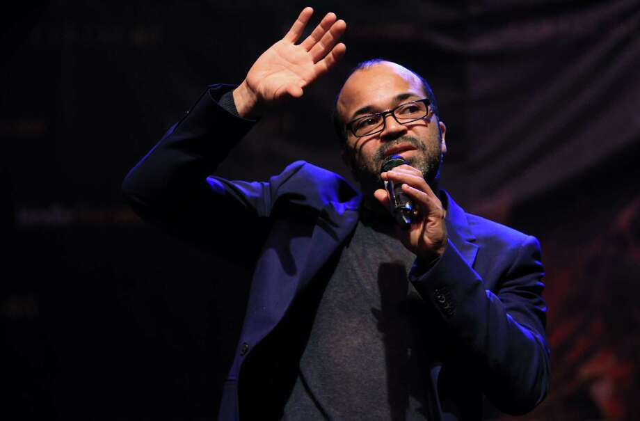 "Jeffrey Wright, ""Beetee"", answers question during The Hunger Games: Catching Fire Victory Tour at the Bayou Music Center. Photo: Mayra Beltran, Houston Chronicle / © 2013 Houston Chronicle"