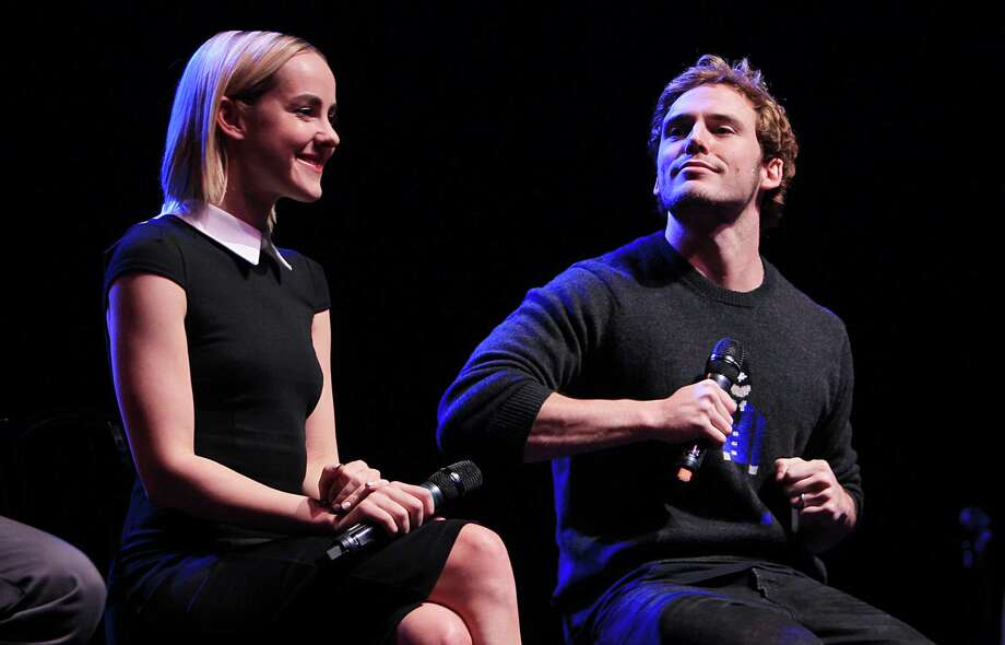 "Jena Malone, ""Johanna"", and Sam Claflin, ""Finnick"", answers questions during The Hunger Games: Catching Fire Victory Tour at the Bayou Music Center. Photo: Mayra Beltran, Houston Chronicle / © 2013 Houston Chronicle"