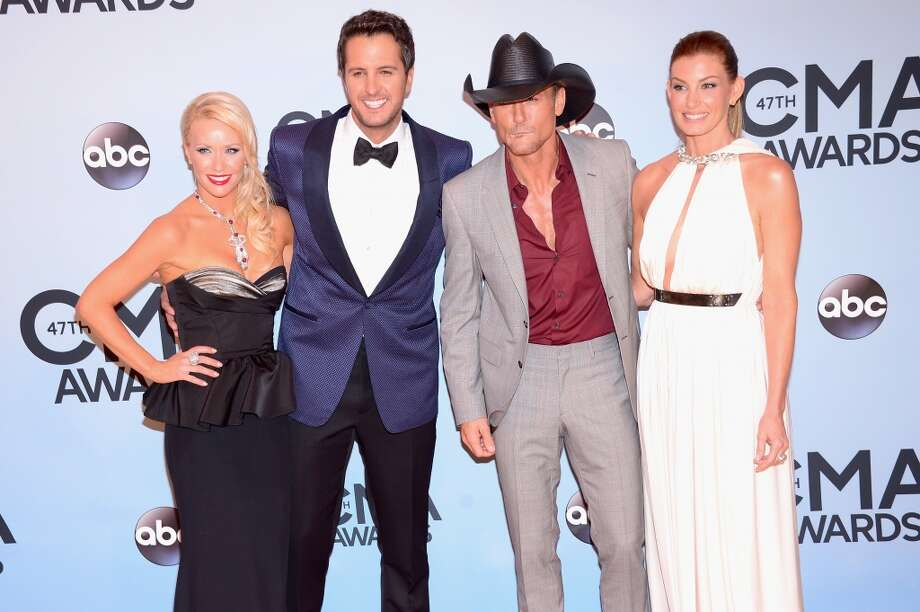 Caroline Boyer, Luke Bryan, Tim McGraw and Faith Hill attend the 47th annual CMA Awards at the Bridgestone Arena on November 6, 2013 in Nashville, Tennessee. Photo: Michael Loccisano, Getty Images