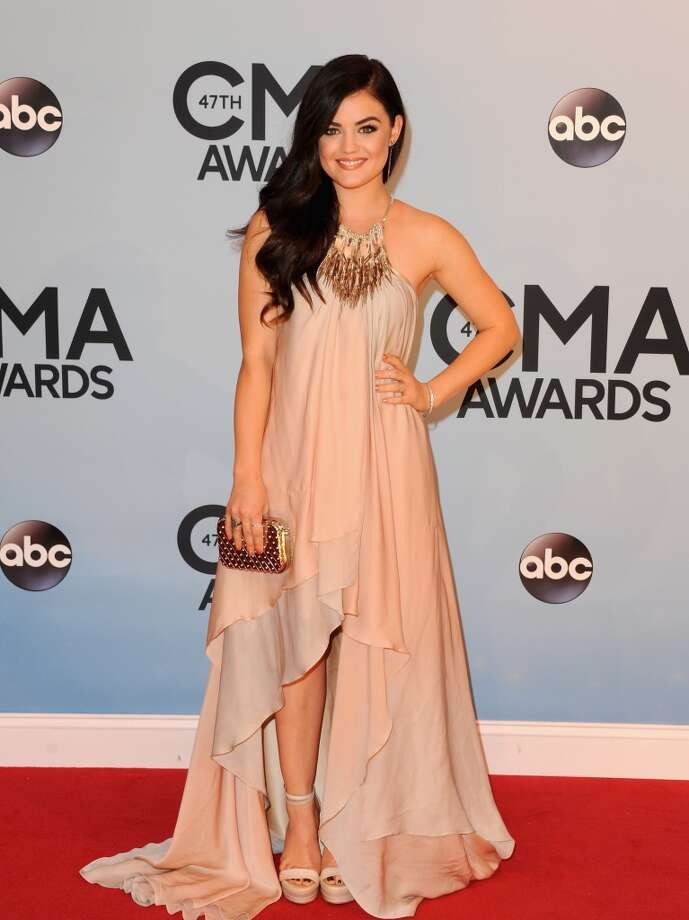 Actress Lucy Hale attends the 47th annual CMA Awards at the Bridgestone Arena on November 6, 2013 in Nashville, Tennessee. Photo: Jon Kopaloff, FilmMagic