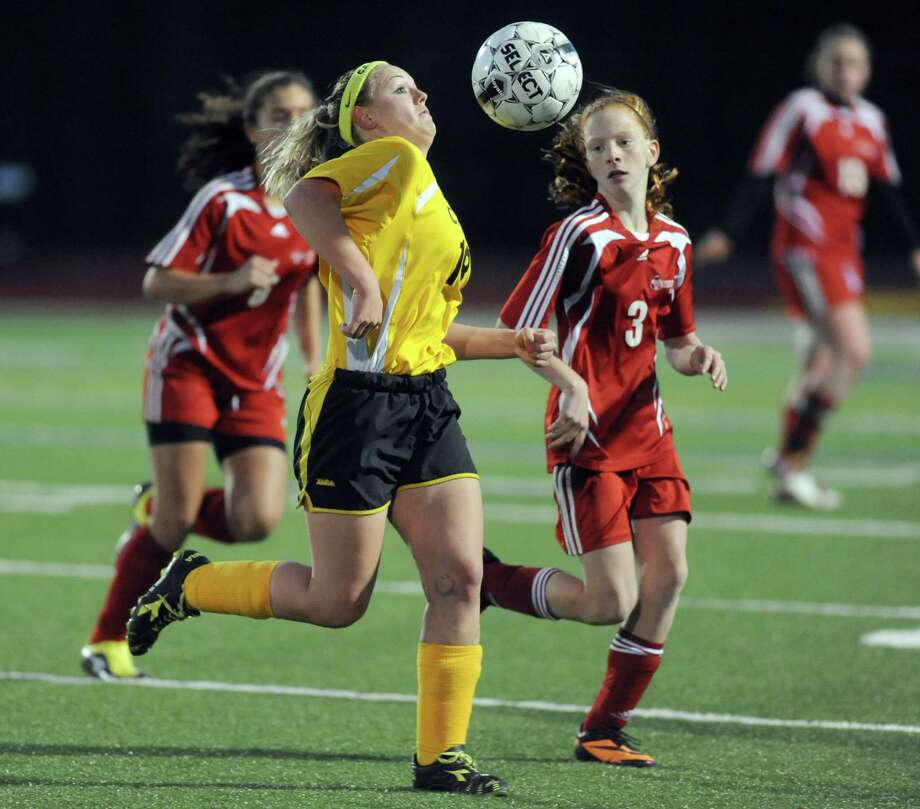 Canajoharie's Jenelle Dillenbeck trys to gain control of the ball during their Class C Section II girls' soccer finals against Waterford on Wednesday Nov. 6, 2013 in Stillwater, N.Y. (Michael P. Farrell/Times Union) Photo: Michael P. Farrell / 00024513A