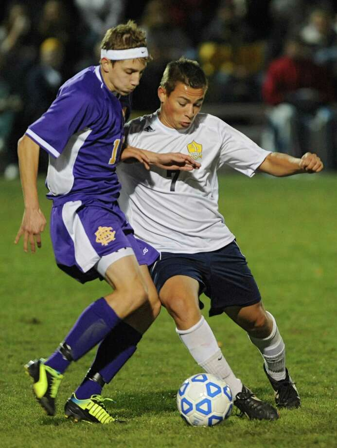 (Syracuse) CBA's Zachary Zajdel, left, battles for the ball with Averill Park's Mac Hoyt during the boys' soccer Class A regional on Wednesday, Nov. 6, 2013 in Colonie, N.Y.  (Lori Van Buren / Times Union) Photo: Lori Van Buren / 00024528A