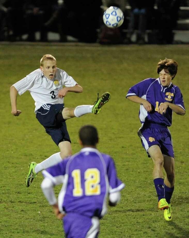 Averill Park's Matt Regan kicks the ball during the boys' soccer Class A regional against (Syracuse) CBA on Wednesday, Nov. 6, 2013 in Colonie, N.Y.  (Lori Van Buren / Times Union) Photo: Lori Van Buren / 00024528A
