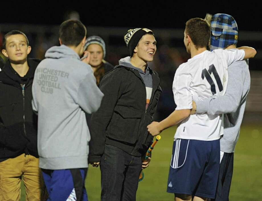 Averill Park celebrates will fans after victory in the boys' soccer Class A regional against (Syracuse) CBA on Wednesday, Nov. 6, 2013 in Colonie, N.Y.  (Lori Van Buren / Times Union) Photo: Lori Van Buren / 00024528A