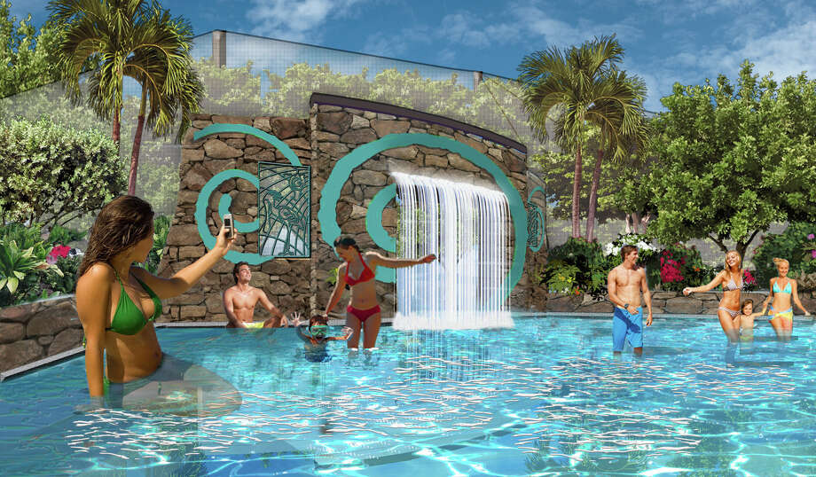 The Aquatica water park at SeaWorld San Antonio is about to begin a major expansion to include a wading pool and aviary as shown in this rendering. Photo: Courtesy SeaWorld San Antonio