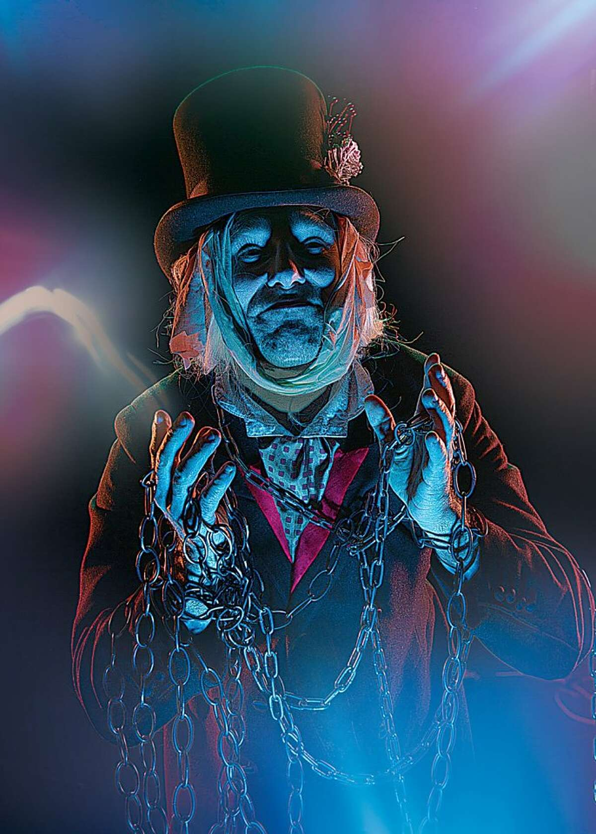 Nov 21 - Dec 22, 2013 | EXTENDED! JACOB MARLEY'S CHRISTMAS CAROL | By Tom Mula Kevin Berne Khris Lewin as Jacob Marley's ghost in Jacob Marley's Christmas Carol, playing at Marin Theatre Company from November 21-December 22. Making