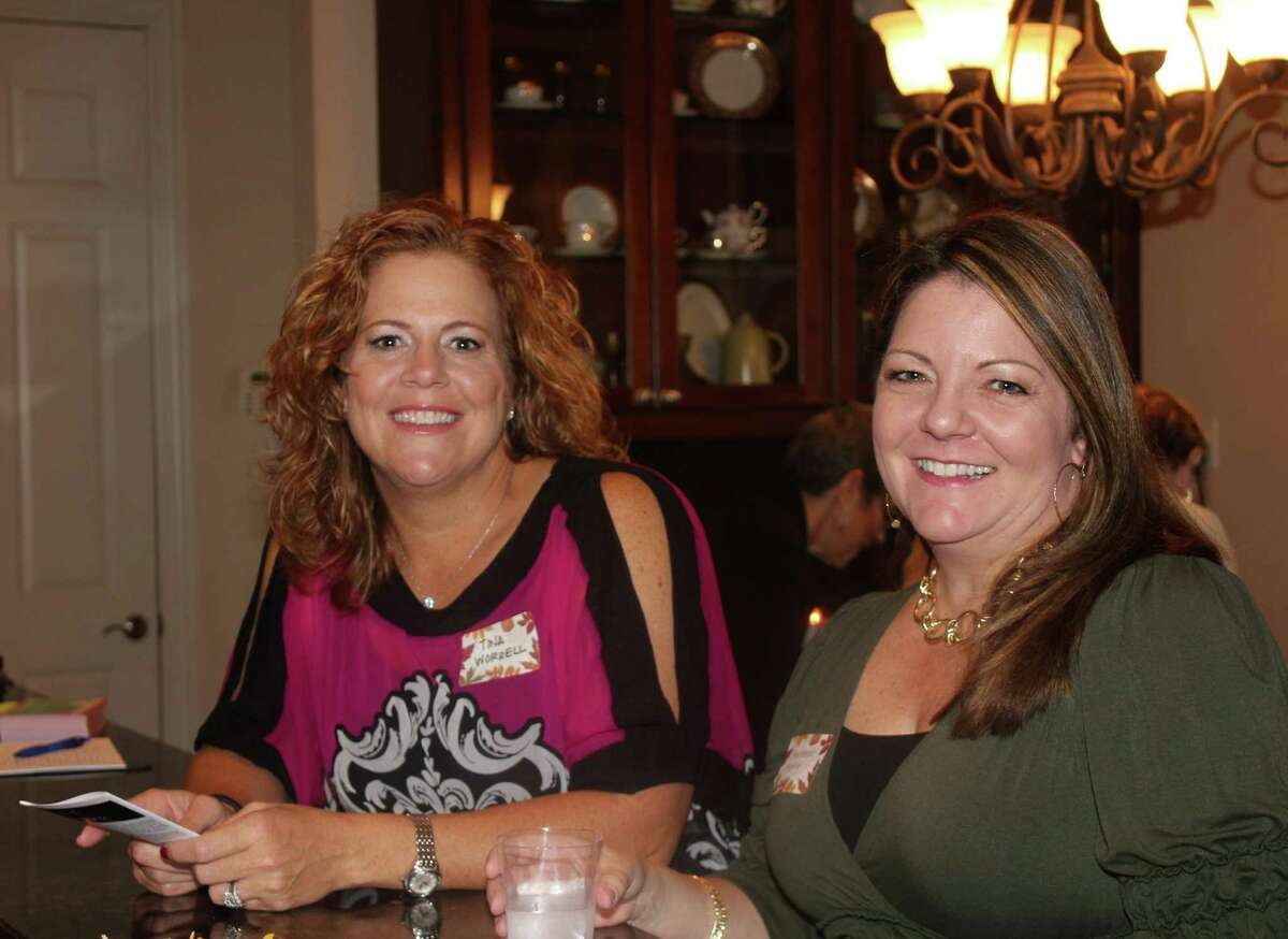 Tina Worrell, left, and Stephanie Reilly were among the crowd at the coffee.