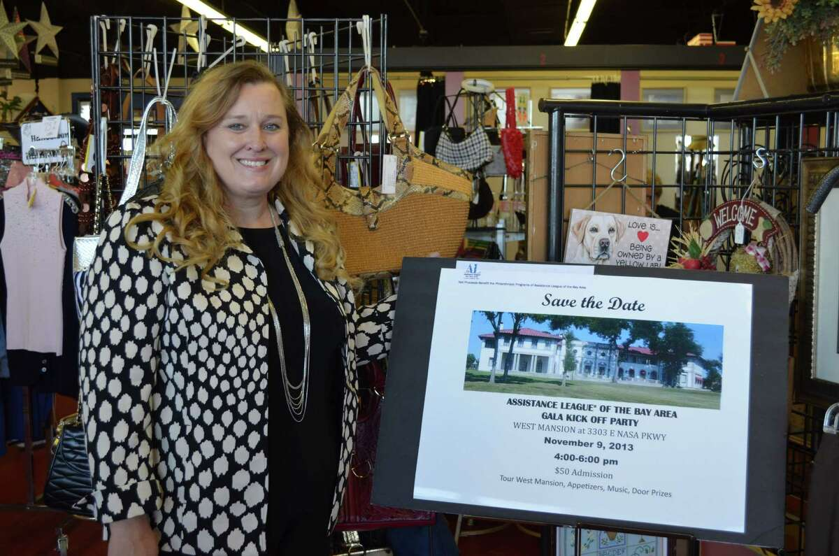Assistance League of the Bay Area President Kim Barker talks about the group's 25th anniversary during a visit to the league's resale shop.