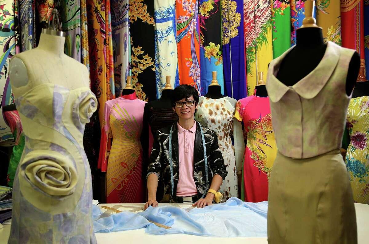 Viet Kent Nguyen creates his pieces at Kim's Fabrics in West Houston.