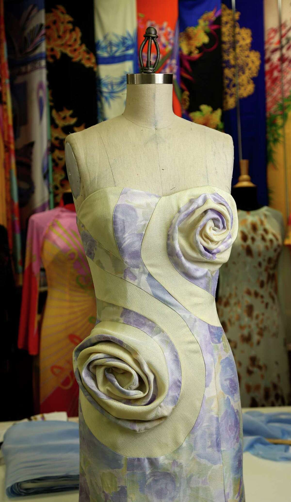 """Nguyen calls the fabric manipulation on this dress a """"vortex."""" It and other pieces will be shown at Fashion Houston."""