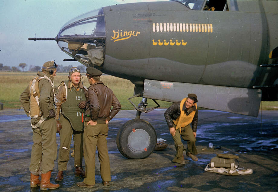 The crew of a B-26 Marauder outside their plane, nicknamed Ginger, 1944. Photo: Frank Scherschel., Time & Life Pictures/Getty Image / Time Life Pictures