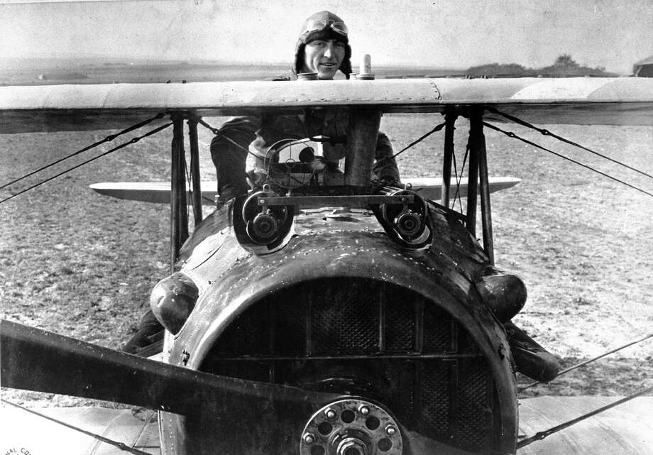 First Lieut. Eddie Rickenbacker, 94th Aero Squadron, an American ace with 26 kills, standing up in cockpit of his French made Spad plane, during WWI, 1918. Photo: Gideon J. Eikleberry, Time & Life Pictures/Getty Image / Time Life Pictures