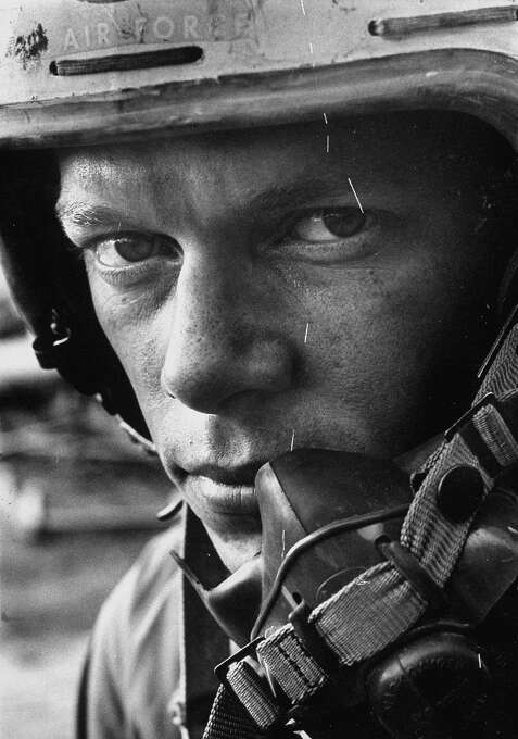 Closeup of jet pilot of 5th Air Force, wearing flight helmet, 1953. Photo: Michael Rougier, Time & Life Pictures/Getty Image / Time Life Pictures
