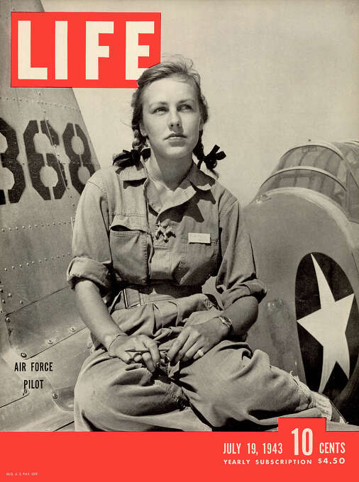 The cover of Life magazine features a photo of American pilot trainee Shirley Slade, in a flight suit and pigtails, as she sits on the wing of her Army trainer at Avanger Field, Sweetwater, Texas, July 19, 1943. Photo: Peter Stackpole, Time & Life Pictures/Getty Image / Time & Life Pictures
