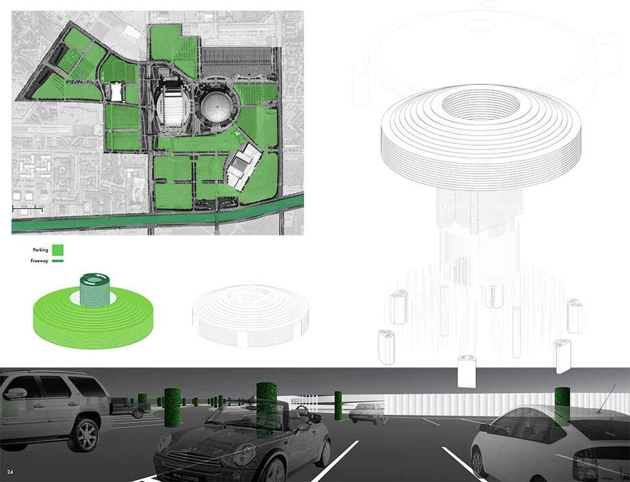 First Place: AstroPark: Filling the Dome and Reclaiming Turf by David Richmond and Adam Wagner This proposal pulls the surrounding environment into the Astrodome, turning the structure into a 13,000-space garage, dramatically reducing the walk from car to stadium and creating a new shared experience for Houstonians. Photo: Courtesy Of The Architect's Newspaper