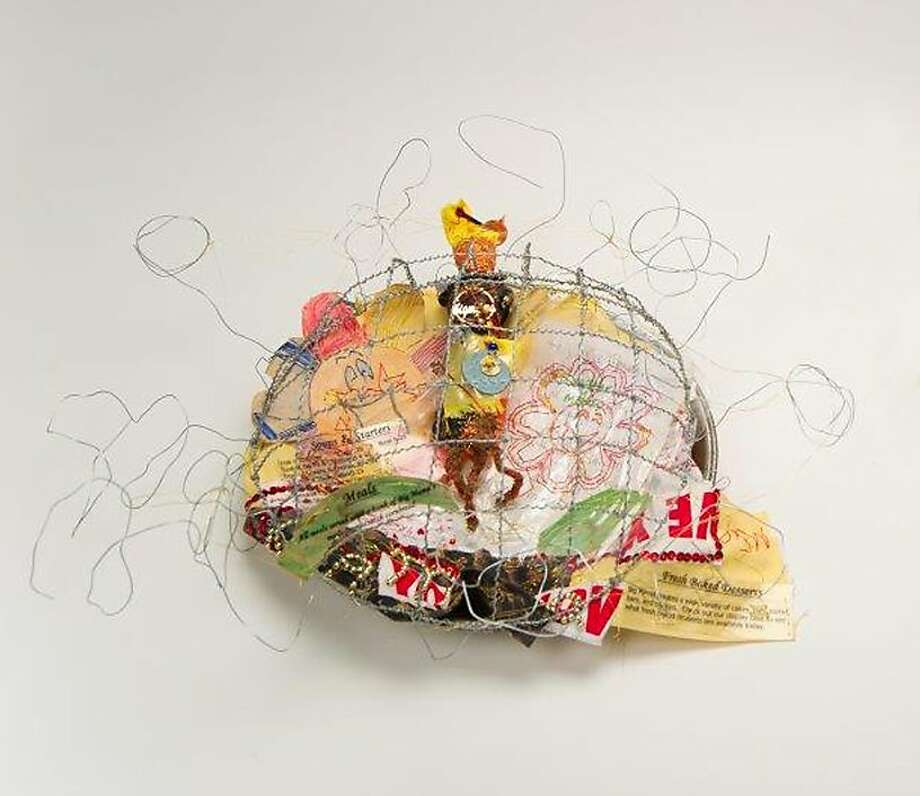 """""""Part of Big Mama Pie"""" is part of Flo Oy Wong's exhibition at the Luggage Store Gallery in S.F. Photo: Bob Hsiang"""