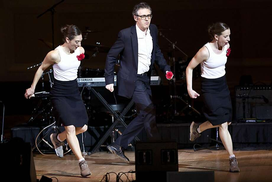 Choreographer Monica Bill Barnes (left) and dancer Anna Bass team with radio host Ira Glass. Photo: Ebru Yildiz