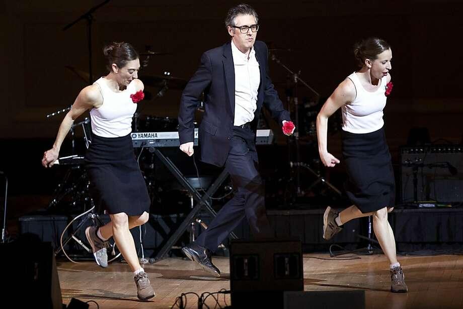 Choreographer Monica Bill Barnes (left) and dancer Anna Bass team with radio host Ira Glass. Photo: Ebru Yildiz