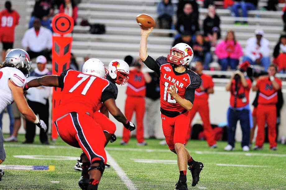 Lamar quarterback Caleb Berry (No. 12) throws a pass during last week's game against Nicholls State at  Provost Umphrey Stadium. Michael Rivera/The Enterprise