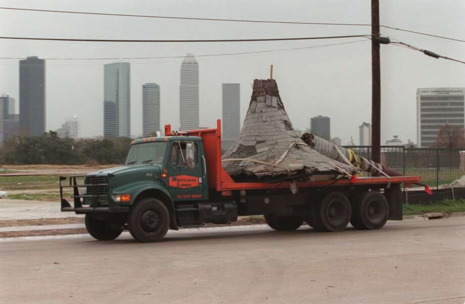 "Witch's Hat House (Allen Paul House)A truck carries away the 'witch's hat' turret up Studemont on it's way to Detering Brickyard. It was featured on the Allen Paul House, or the ""Witch's Hat House"" formerly located at 2201 Fannin. The 90-year-old home was demolished in 1997, and only that turret survived.  Photo: Buster Dean, Houston Chronicle"