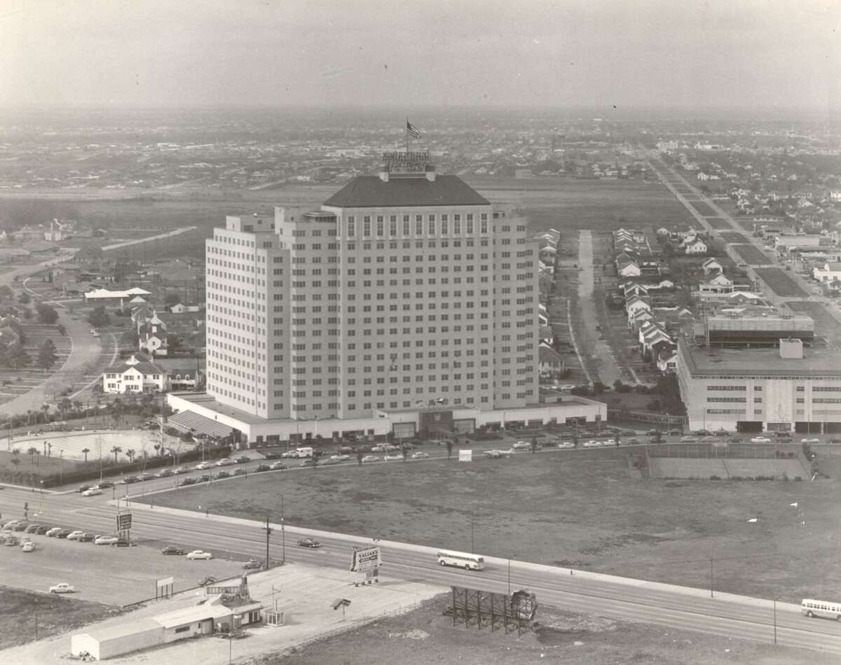 Shamrock Hotel Pictured is a 1953 aerial of the Shamrock Hotel. It was built in 1946.