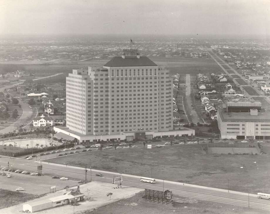 Shamrock HotelA 1953 aerial of the Shamrock Hotel. Valian's Drive-In Restaurant is seen in lower left of photo. It was built in 1946 in south Houston, and demolished four decades later in 1987.