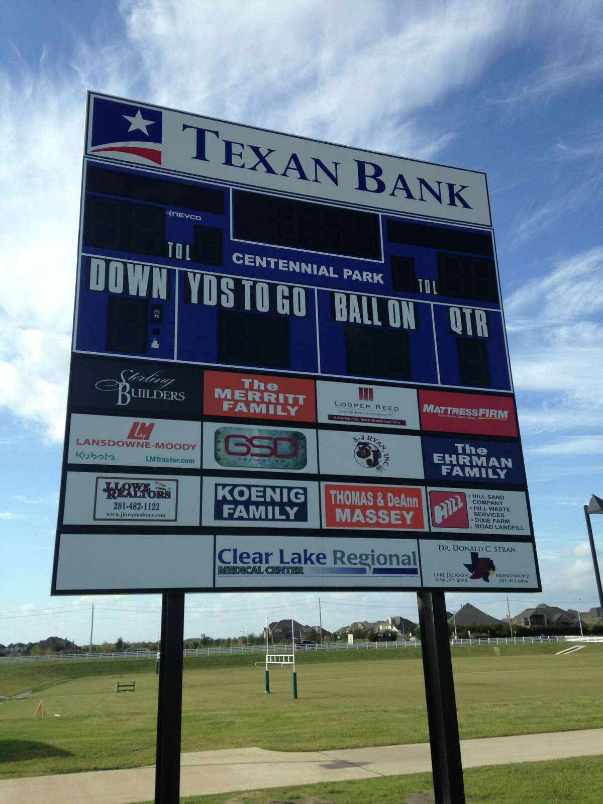One of the two new scoreboards at Centennial Park in Friendswood.