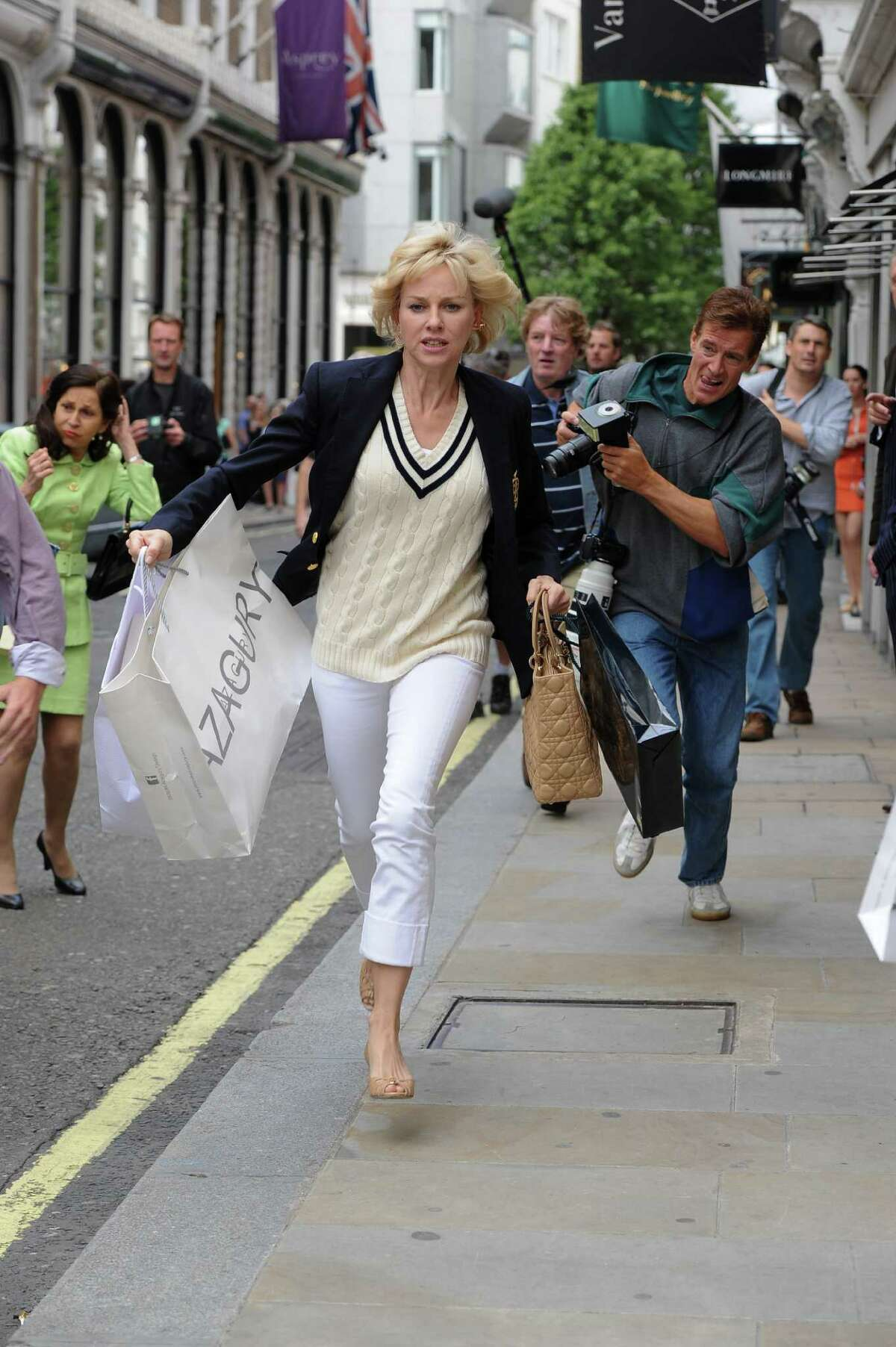 """This film image released by Entertainment One Films shows Naomi Watts as Diana, Princess of Wales, in a scene from """"Diana."""" (AP Photo/Entertainment One Films, Laurie Sparham)"""