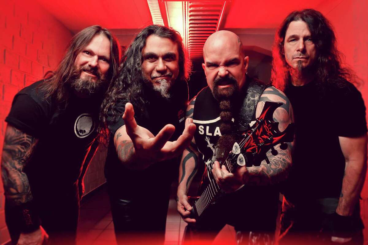 Slayer includes Gary Holt, from left, Tom Araya, Kerry King and Paul Bostaph.