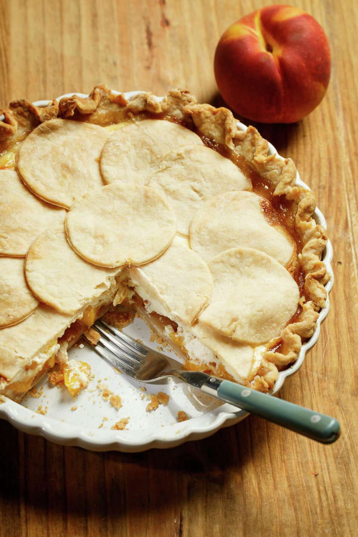 K2K. Kitchen to Kitchen. Peacheesy Pie, photographed in the Houston Chronicle Photo Studio, Thursday, Aug. 29, 2013, in Houston. ( Michael Paulsen / Houston Chronicle )
