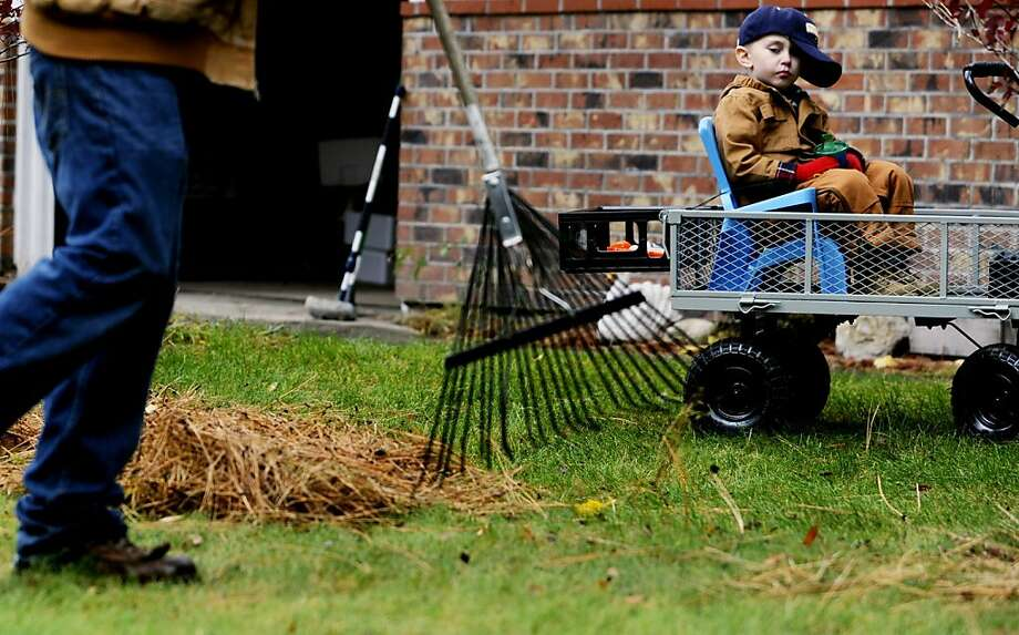 You missed a spot: Five-year-old Skylar Sinclair supervises dad Cody's pine-needle raking in their front yard in Post 