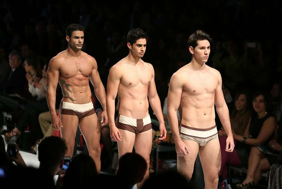 The ladies at right seem to be enjoying themselves: Designer Yirko Sivirich favors bikini briefs over boxers at the Lima 