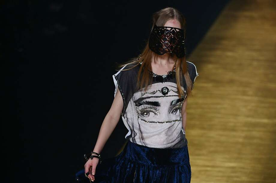 Hey! My eyes are down here:A model presents a creation by Victor Dzenk during the 2014 Winter collection of Fashion Rio in Rio de Janeiro. Photo: Yasuyoshi Chiba, AFP/Getty Images