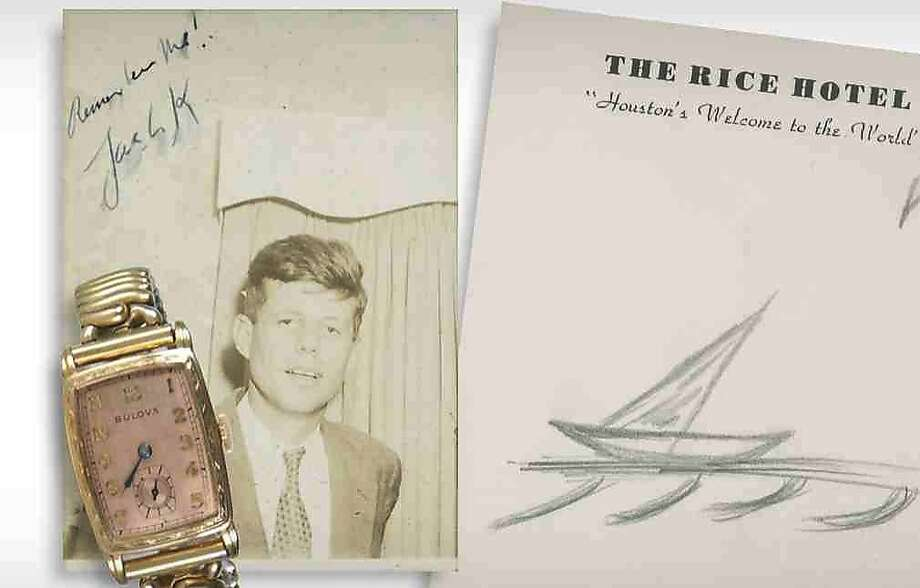 JFK memorabilia up for auction: A photo from New Hampshire-based RR Auction shows an original vintage pencil sketch of a sailboat drawn by President John F. Kennedy on Rice Hotel stationery, Kennedy's engraved 1941 Bulova timepiece and the earliest known signed photograph of the future president. Kennedy was a prolific sketcher and known to cover entire sheets of paper with small drawings, most frequently of sailboats. This is said to be the final doodle of his life. Photo: RR Auction, AFP/Getty Images