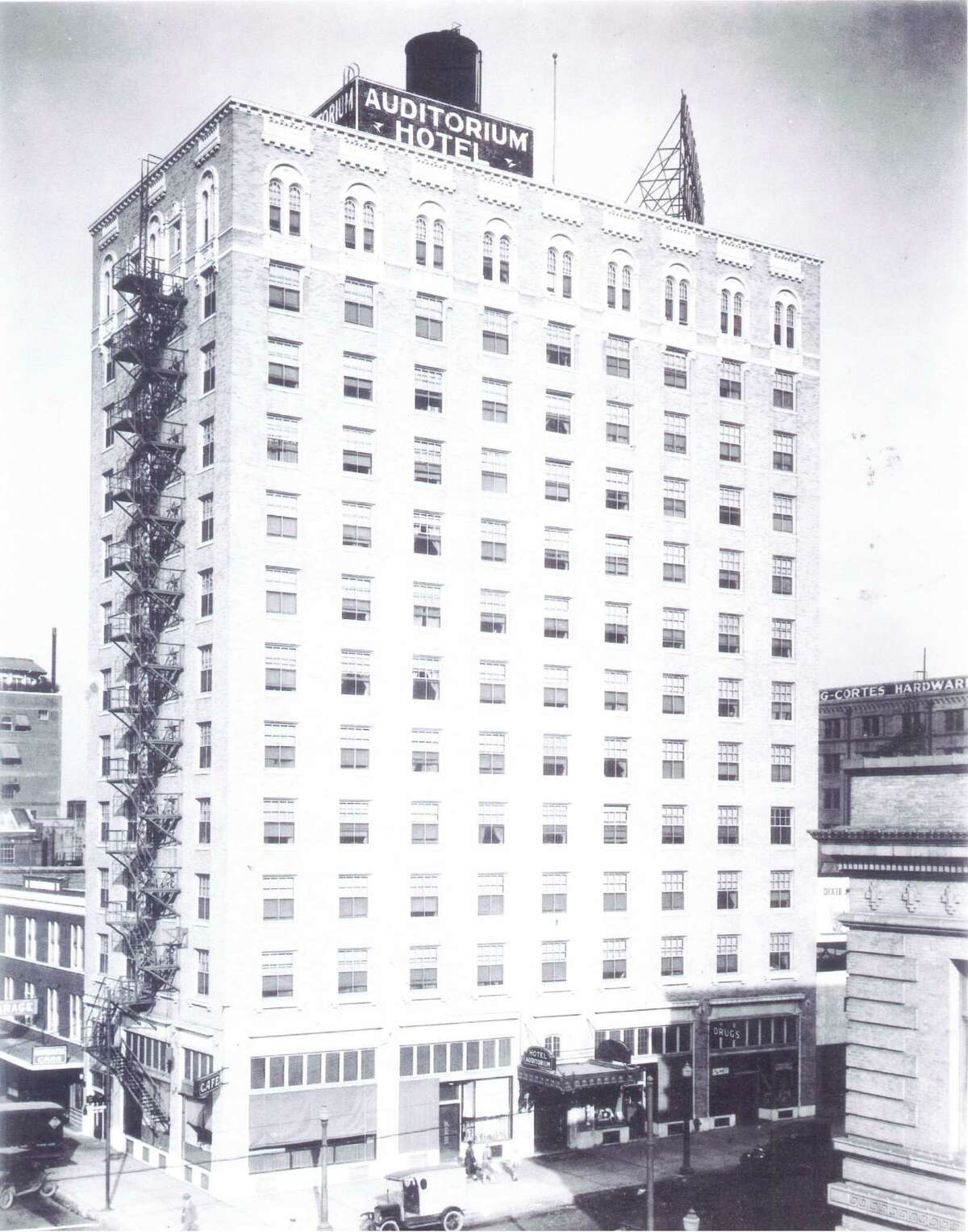 An archival photo of the Auditorium Hotel, built by Joseph Finger in downtown Houston. The Auditorium opened in 1926 and became the Lancaster Hotel in 1983.