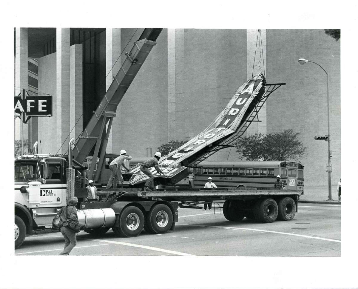 Renovation of the old Auditorium Hotel in downtown Houston got off to an unexpected start in December 1981. As crew members began lowering the neon sign from the 55-year-old building in a sign off to the old hotel, it gathered momentum and crumpled in half on the flatbed truck. No injuries were reported resulting from the incident. The hotel was renamed The Lancaster and remodeled into a 93-room, European-style facility.