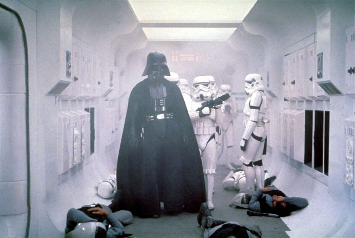 Darth Vader makes his entrance in the 1977 movie