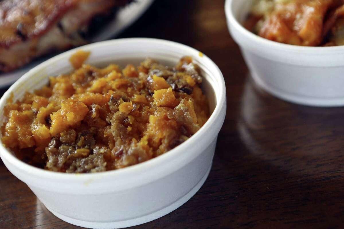 Big Bib's Sweet Potato Casserole has the creamy texture of a soufflé; roasted pecans provide the crunch.