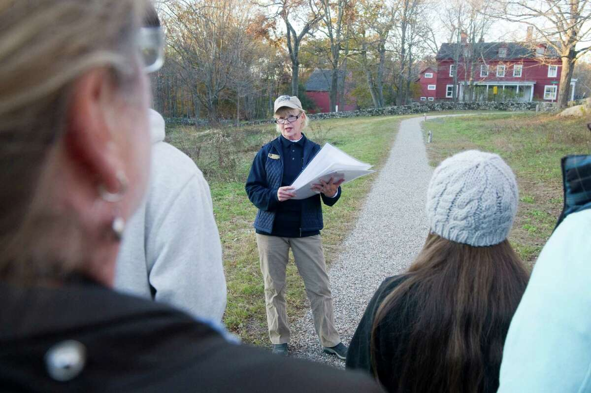 Historian Bonnie Tremante leads the 2011 Foreshadowing Fate Walk at Weir Farm in Wilton, Conn. The tour returns Saturday, Nov. 9, 2013 from 3 to 4 p.m..
