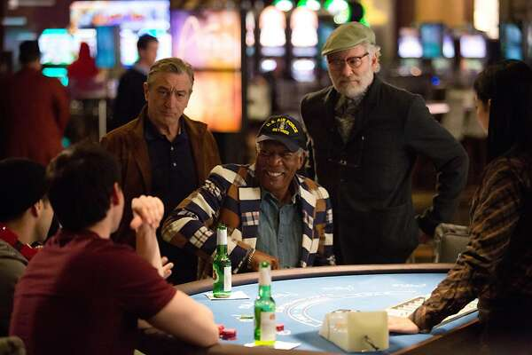 "This image released by CBS Films shows, from left, Robert De Niro, Morgan Freeman, and Kevin Kline, in a scene from ""Last Vegas."" (AP Photo/CBS Films, Chuck Zlotnick)"