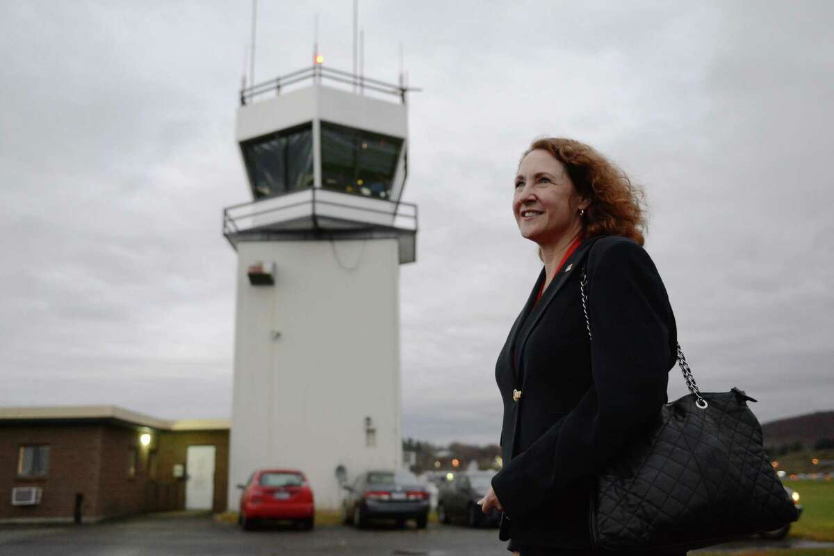 U.S. Rep. Elizabeth Esty tours the control tower at the Danbury Municipal Airport in Danbury, Conn. on Thursday, Nov. 7, 2013. Rep. Esty visited the facilities to assess the funding of the control tower, which costs about $600,000 per year to operate.